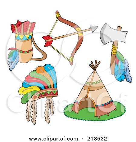 Royalty-Free (RF) Clipart Illustration of a Digital Collage Of Native American Items by visekart