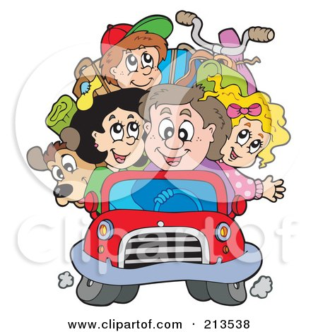 Royalty-Free (RF) Clipart Illustration of a Happy Family Packed In A Car by visekart