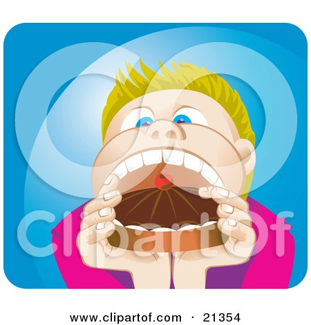 Clipart Illustration of a Blond Boy Opening His Mouth Wide To Shove In A Whole Cake With Choclate Frosting by Paulo Resende