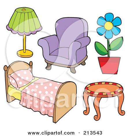 Clipart Frame Of A Couch And Household Items Royalty
