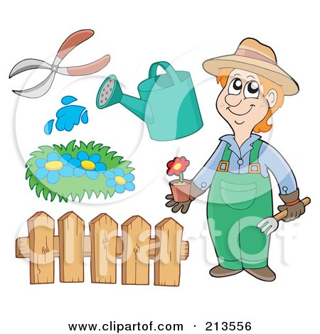 Royalty-Free (RF) Clipart Illustration of a Digital Collage Of A Gardener And Items by visekart