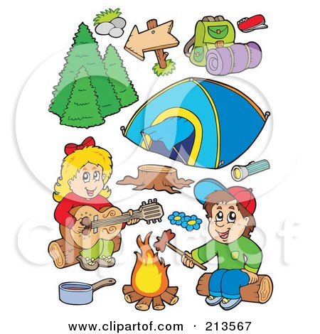 Royalty-Free (RF) Clipart Illustration of a Digital Collage Of Children Around A Campfire And Camping Gear by visekart
