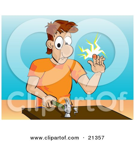 Clipart Illustration of a White Man In An Orange Shirt, Holding Up A Throbbing Finger After Hitting It With A Hammer by Paulo Resende