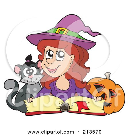 Royalty-Free (RF) Clipart Illustration of a Cute Halloween Witch In Purple, Reading A Spell Book With A Cat by visekart
