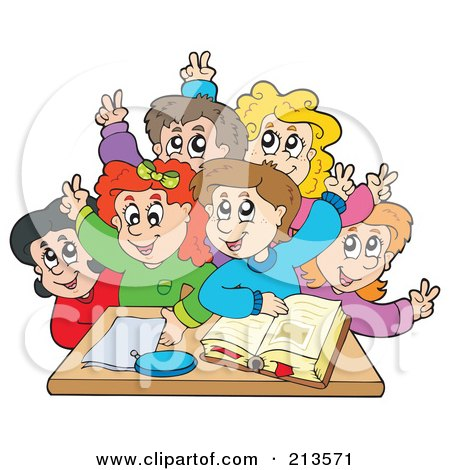 Royalty-Free (RF) Clipart Illustration of a Group Of Happy Students Raising Their Hands by visekart