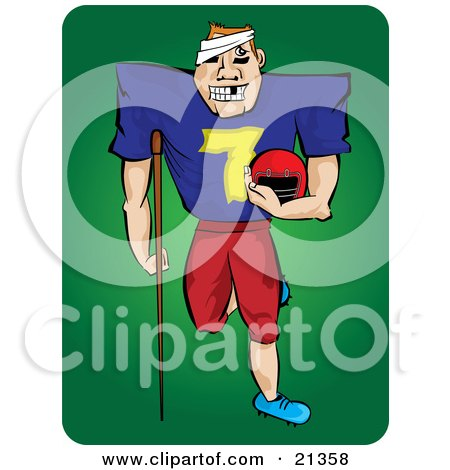 Clipart Illustration of a Grinning Injured Football Player With Missing Teeth, A Bandage On His Head And An Injured Leg, Carrying His Helmet And Leaning On A Crutch by Paulo Resende