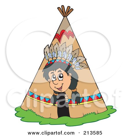 Royalty-Free (RF) Clipart Illustration of a Happy Native American Boy Peeking Out Of A Tepee by visekart