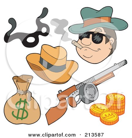 Royalty-Free (RF) Clipart Illustration of a Digital Collage Of A Gangster And Items by visekart