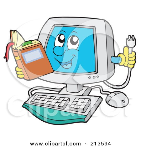 Royalty-Free (RF) Clipart Illustration of a Computer Character Reading And Holding A Plug by visekart