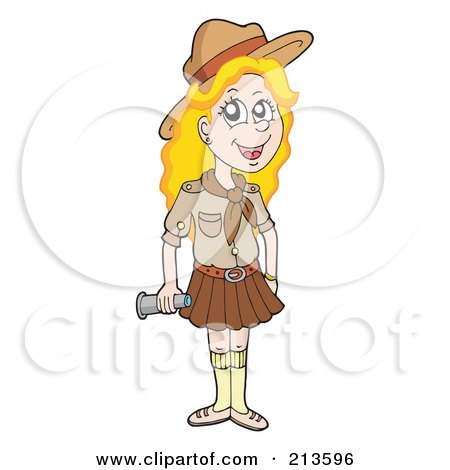 Royalty-Free (RF) Clipart Illustration of a Blond Girl Scout In Uniform by visekart