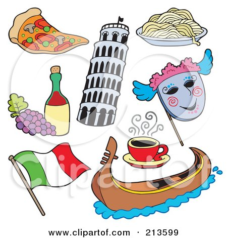 Royalty-Free (RF) Clipart Illustration of a Digital Collage Of Italian Items by visekart