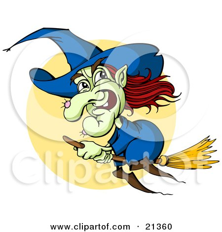 Clipart Illustration of a Green Witch With Red Hair And A Hairy Wart On Her Nose, Flying In Front Of A Full Moon On A Broom Stick by Holger Bogen
