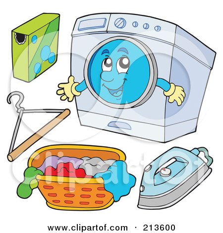 Royalty-Free (RF) Clipart Illustration of a Digital Collage Of Digital Collage Of A Washing Machine Character And Laundry by visekart