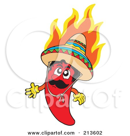 Royalty-Free (RF) Clipart Illustration of a Flaming Mexican Chili Pepper Character by visekart