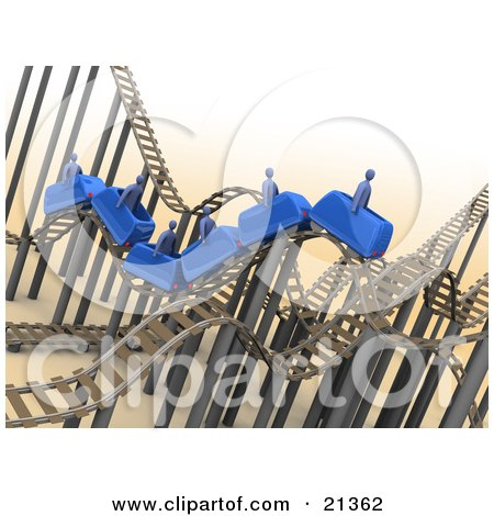 Clipart Illustration of Blue People Riding On A Roller Coaster With A Mess Of Tracks by 3poD