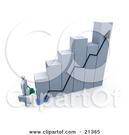 Clipart Illustration of a Businessman Carrying A Briefcase, Pouring Water On A Bar Graph Two Increase Company Growth by 3poD