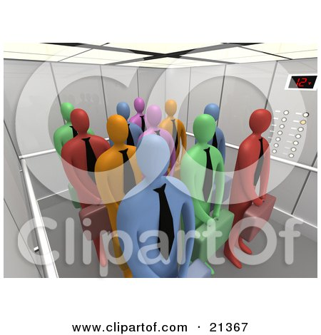 Clipart Illustration of a Group Of Diverse And Colorful Blue, Green, Red, Pink And Orange Corporate Businessmen Waiting Patiently In An Elevator by 3poD