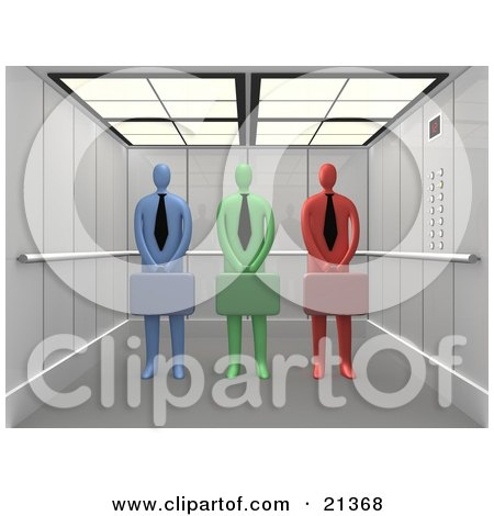 Clipart Illustration of Diverse And Colorful Blue, Green, And Red Corporate Businessmen Standing With Briefcases In An Elevator by 3poD