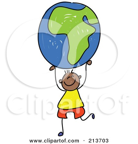 Royalty-Free (RF) Clipart Illustration of a Childs Sketch Of A Black Boy Holding Up An African Globe by Prawny
