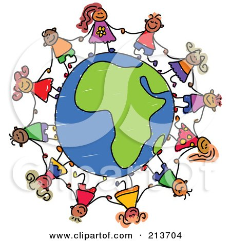 Royalty-Free (RF) Clipart Illustration of a Childs Sketch Of Children Holding Hands Around An African Globe by Prawny