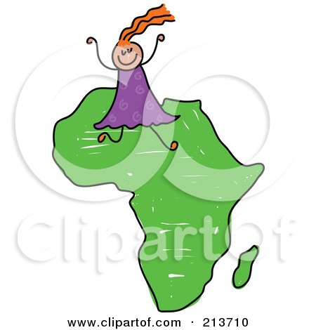 Royalty-Free (RF) Clipart Illustration of a Childs Sketch Of A Happy African Girl On Africa by Prawny