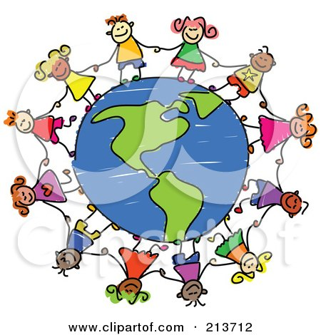 Royalty-Free (RF) Clipart Illustration of a Childs Sketch Of Children Holding Hands Around An American Globe by Prawny