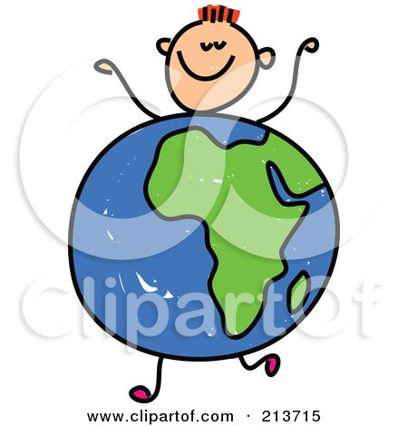 Royalty-Free (RF) Clipart Illustration of a Childs Sketch Of A Happy Boy With An African Globe Body by Prawny