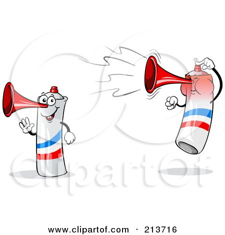 Royalty-Free (RF) Clipart Illustration of a Digital Collage Of A Waving And Jumping Loud French Air Horn by Holger Bogen