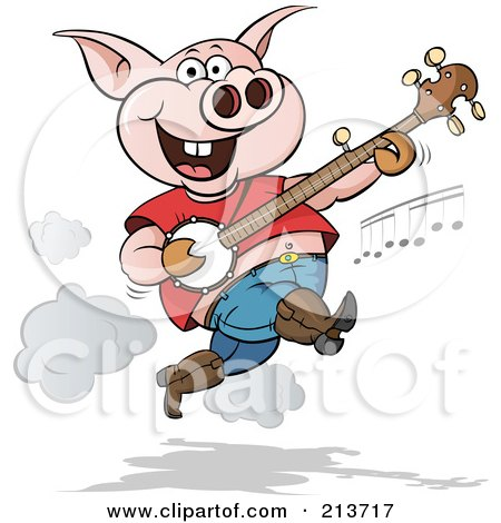 Royalty-Free (RF) Clipart Illustration of a Happy Pig Jumping And Picking A Banjo by Holger Bogen