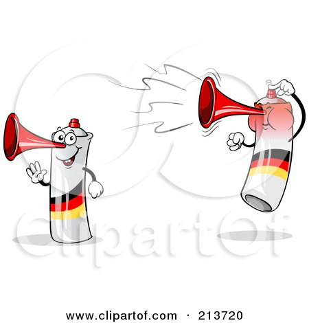Royalty-Free (RF) Clipart Illustration of a Digital Collage Of A Waving And Jumping Loud German Air Horn by Holger Bogen