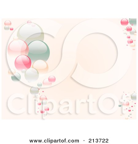 Royalty-Free (RF) Clipart Illustration of a Horizontal Background Of Pastel Bubbles On Pink by elaineitalia