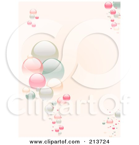 Royalty-Free (RF) Clipart Illustration of a Vertical Background Of Pastel Bubbles On Pink by elaineitalia