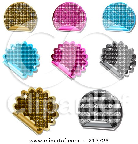 Royalty-Free (RF) Clipart Illustration of a Digital Collage Of Glittery Metallic Round And Burst Sticker Labels by elaineitalia
