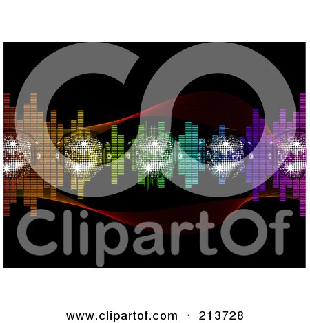 Royalty-Free (RF) Clipart Illustration of Sparkly Disco Balls With Colorful Equalizer Waves On Black by elaineitalia