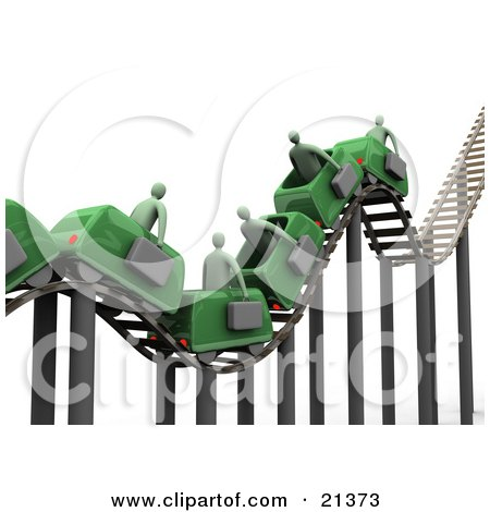 Clipart Illustration of a Bumpy Green Roller Coaster Transporting Green Businessmen With Briefcases by 3poD