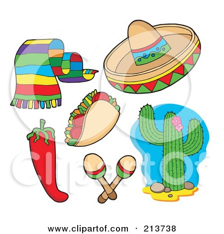 Royalty-Free (RF) Clipart Illustration of a Digital Collage Of A Scarf, Taco, Chili Pepper, Sombrero, Maracas And Cactus by visekart