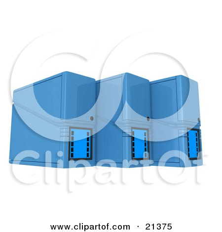 Three Blue Computer Tower Servers Over White Posters, Art Prints