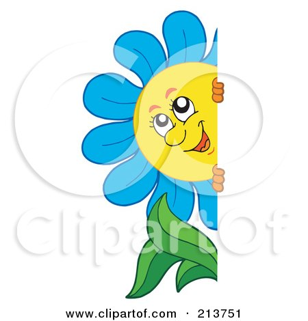 Royalty-Free (RF) Clipart Illustration of a Happy Blue Flower Looking Around A Blank Sign by visekart