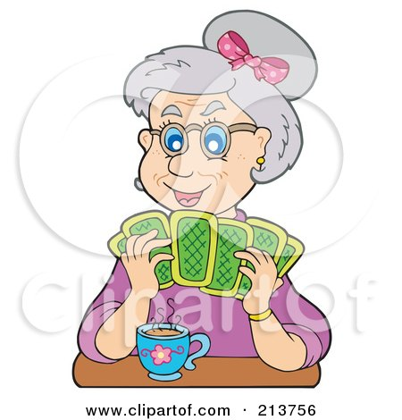 Royalty-Free (RF) Clipart Illustration of a Granny Playing Poker by visekart