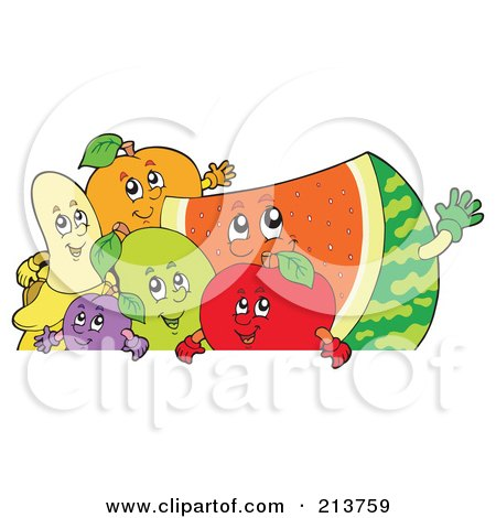 Royalty-Free (RF) Clipart Illustration of a Group Of Happy Fruit Over A Blank Sign by visekart