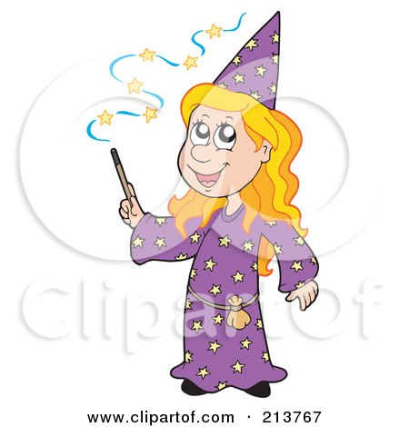Royalty-Free (RF) Clipart Illustration of a Cute Blond Wizard Girl Using A Magic Wand by visekart