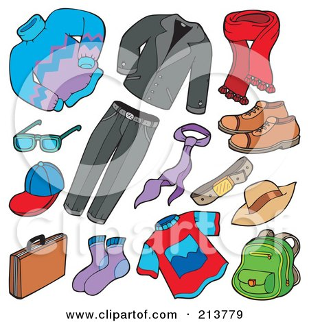 Royalty-Free (RF) Clipart Illustration of a Digital Collage Of Men's Apparel by visekart