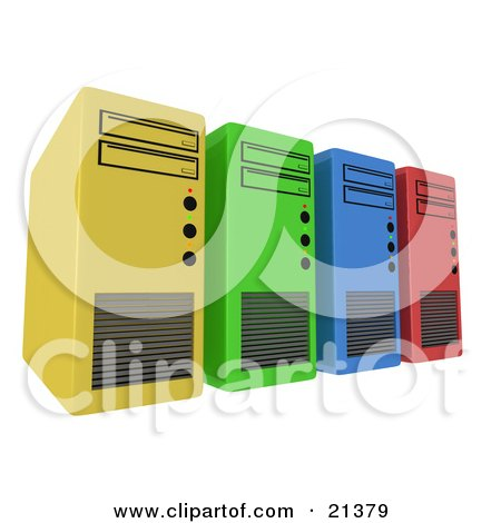 Row Of Yellow, Green, Blue And Red Computer Server Towers Posters, Art Prints