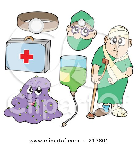 Royalty-Free (RF) Clipart Illustration of a Digital Collage Of A Headlamp, First Aid Kit, Virus, Iv, Doctor And Sick Man by visekart