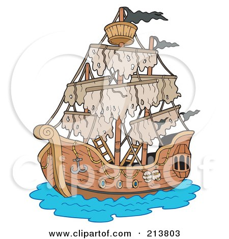 Royalty-Free (RF) Clipart Illustration of a Mysterious Pirate Ship by visekart