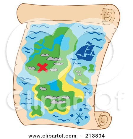 Royalty-Free (RF) Clipart Illustration of a Treasure Map With A Red X by visekart