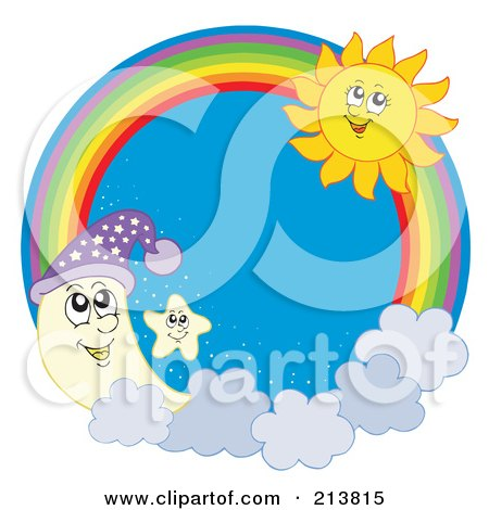 Royalty-Free (RF) Clipart Illustration of a Moon, Star And Summer Sun Rainbow Circle by visekart