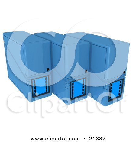 Row Of Three Blue Computer Server Towers Posters, Art Prints