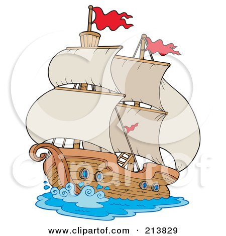 Royalty-Free (RF) Clipart Illustration of an Old Sailing Ship by visekart