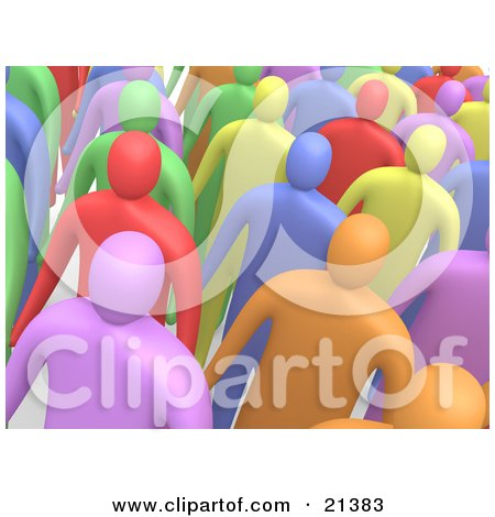 Clipart Illustration of a Group Of Colorful Diverse People Standing In A Crowd And Looking Slightly Upwards by 3poD
